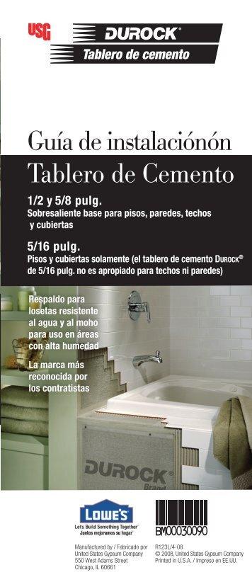 Installation Cement Bo Guía de instalaciónón Tablero de Cemento