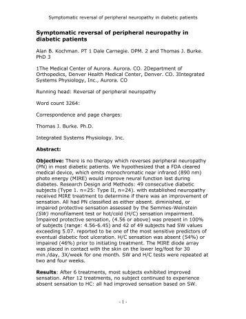 Symptomatic reversal of peripheral neuropathy in diabetic patients