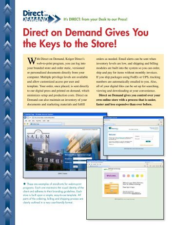 Direct on Demand Sales Sheet