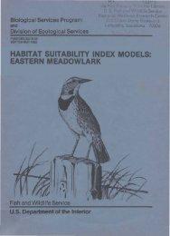 HABITAT SUITABILITY INDEX MODELS: EASTERN MEADOWLARK