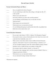 Plan and Prepare Checklist Personal Information/Majors and Minors ...
