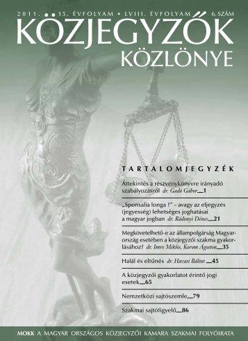 Közjegyzők közlönye 2011. 6. szám - Magyar Országos Közjegyzői ...