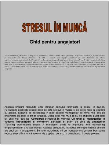 Stresul in munca - ghid pentru angajatori - Agenţia Europeană ...