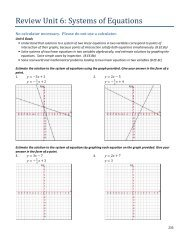 Review Unit 6: Systems of Equations