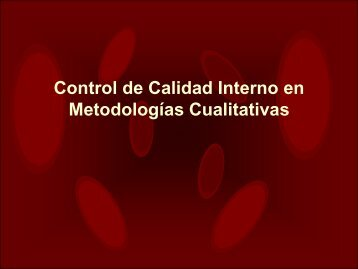 Control de Calidad Interno en Metodologías Cualitativas - QCNet