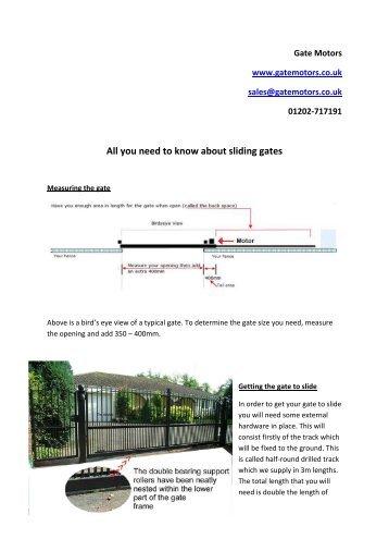 information on sliding gates - Gate Motors