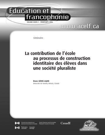 Éducation et francophonie, vol. XXXIV, n o 1, printemps 2006 - acelf