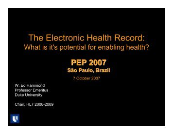 The Electronic Health Record: - SBIS