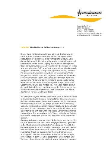 Infoblatt Musikalische Früherziehung - Musikschule Bergstedt