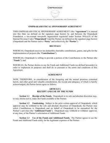 fiscal sponsorship agreement partnerpdf omprakash