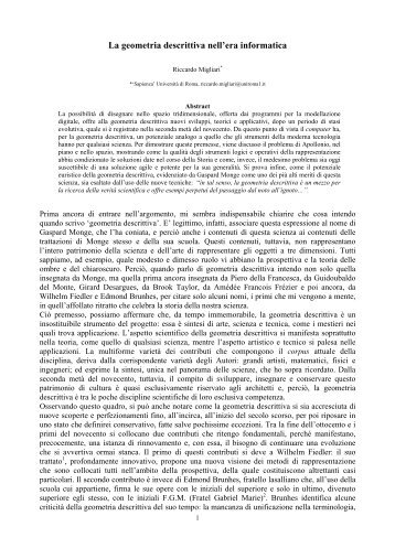 La geometria descrittiva nell'era informatica - Riccardo Migliari