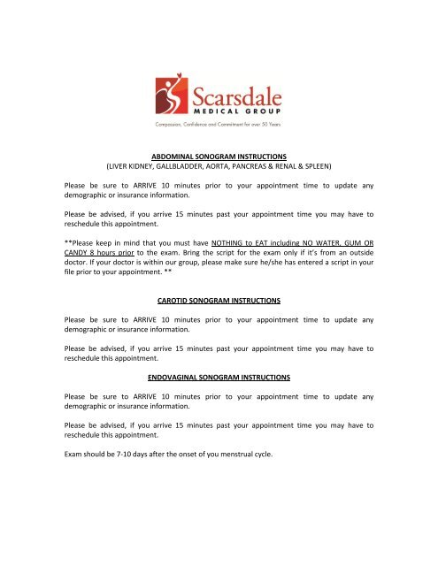 Sonogram Instructions - Scarsdale Medical Group
