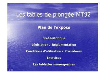 Les tables de plongée MT92 - Jacquet Stephan