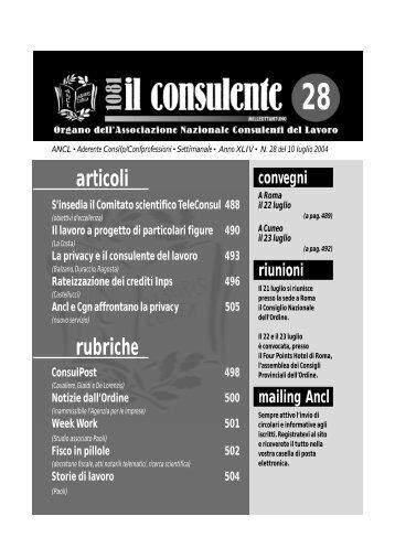 N. 28 del 10 luglio 2004 498 il consulente 1081 - Ancl