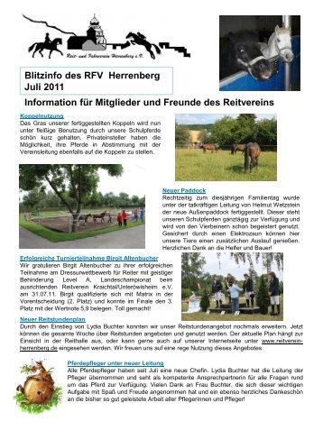 Blitzinfo des RFV Herrenberg  Juli 2011 Information für Mitglieder ...