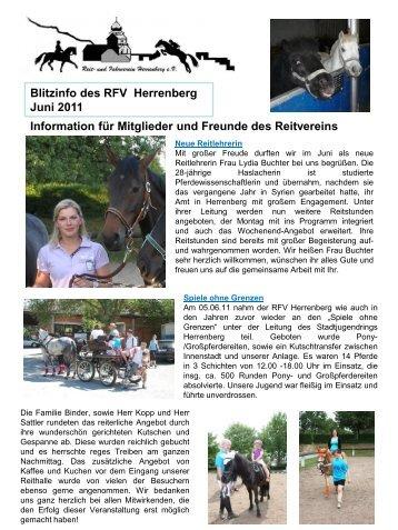 Blitzinfo des RFV Herrenberg  Juni 2011 Information für Mitglieder ...