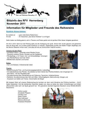 Blitzinfo des RFV Herrenberg  November 2011 Information für ...