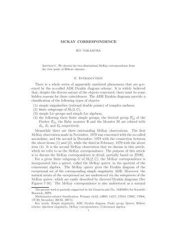 mckay correspondence iku nakamura