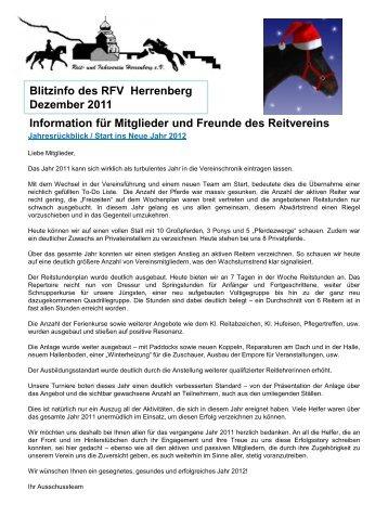 Blitzinfo des RFV Herrenberg  Dezember 2011 Information für ...