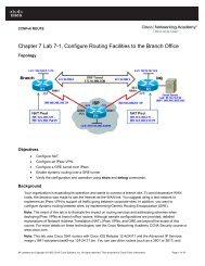 Chapter 7 Lab 7-1, Configure Routing Facilities to the Branch Office