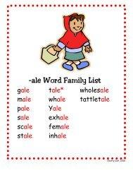 -ale Word Family List