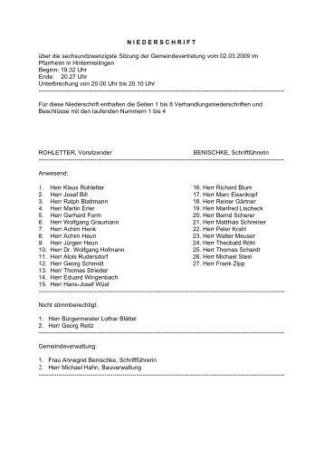 Sitzungsniederschrift 090 - Waldbrunn im Westerwald