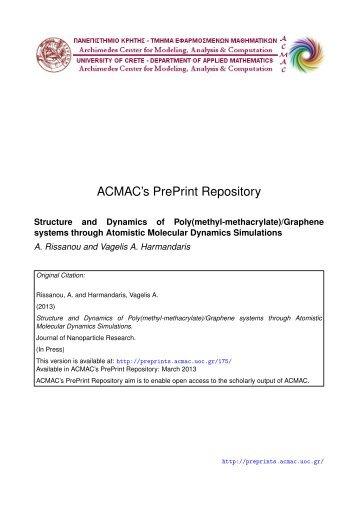 Download (465Kb) - ACMAC's PrePrint Repository