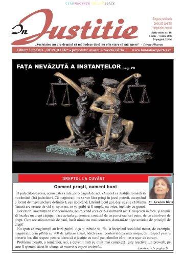 FAŢA NEVĂZUTĂ A INSTANŢELOR pag. 20 - In Justitie