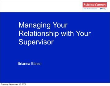 Managing Your Relationship with Your Supervisor - Science Careers