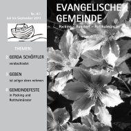 X Ihr Gemeindebrief 3 – 2011 - Pocking evangelisch
