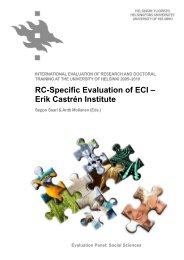RC-Specific Evaluation of ECI - Helsinki.fi