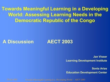 Towards Meaningful Learning in a Developing World