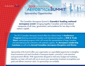 Sponsorship opportunities at the 2013 Canadian Aerospace Summit