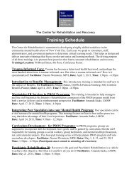 Training Schedule - The Coalition of Behavioral Health Agencies, Inc.