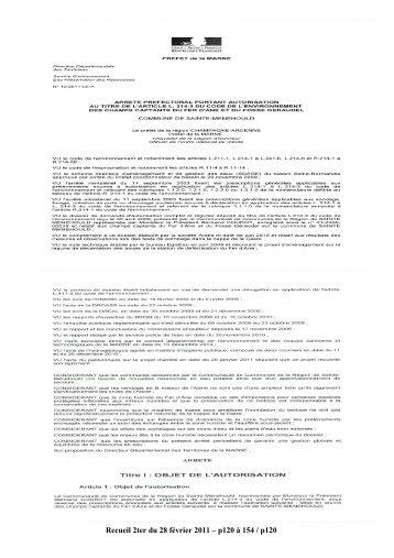 Recueil 2ter-2011 du 28 février - p120 à 154 - Préfecture de la Marne