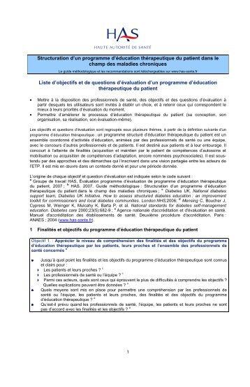 Liste objectifs et questions d'évaluation de programme ETP