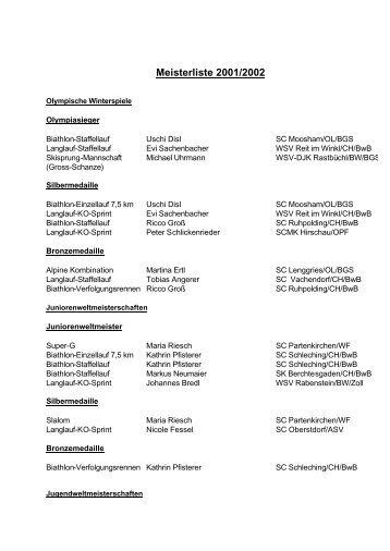 Meisterliste 2001/2002 - Bayerischer Skiverband