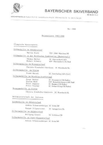 Meisterliste 1987/1988 - Bayerischer Skiverband