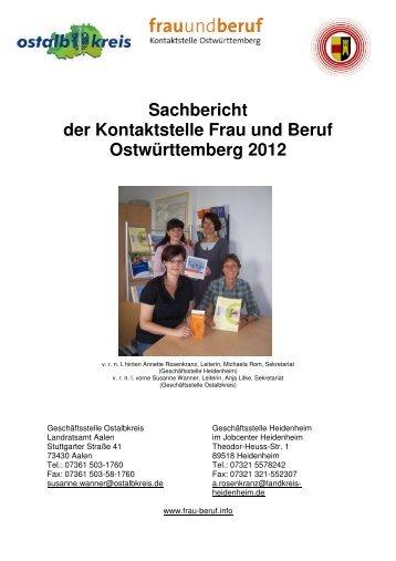 Sachbericht der Kontaktstelle Frau und Beruf Ostwürttemberg 2012