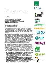 Offener Brief zur EU-Abstimmung über Biosprit - Deutsche ...