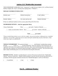 Ageless, LLC Membership Agreement Part B ... - ageless fitness