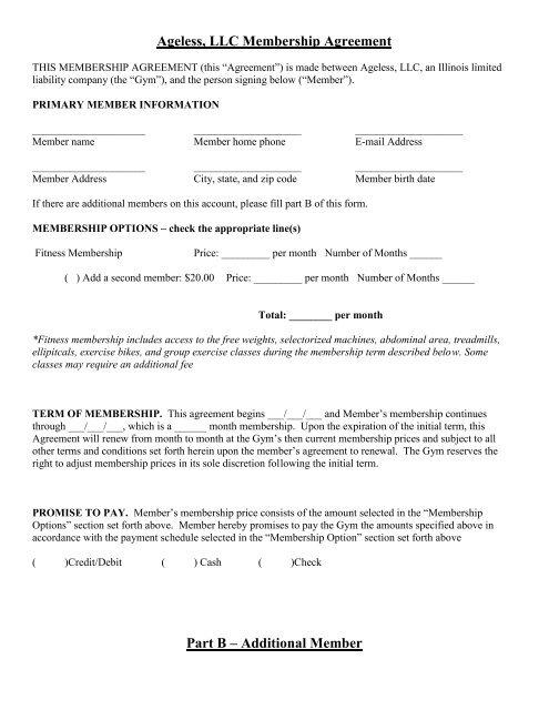 Ageless Llc Membership Agreement Part B Ageless Fitness