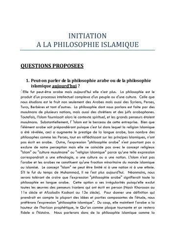 INITIATION A LA PHILOSOPHIE ISLAMIQUE - CUEA