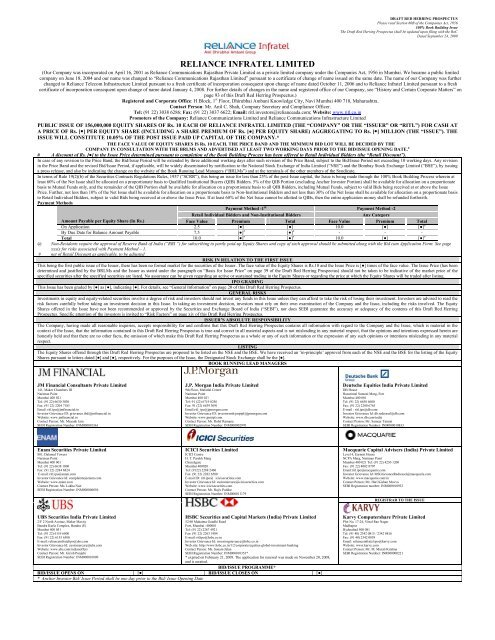 Reliance Infratel Limited: Draft Red Herring Prospectus - HSBC