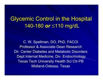 Glycemic Control in Critically Ill Patients