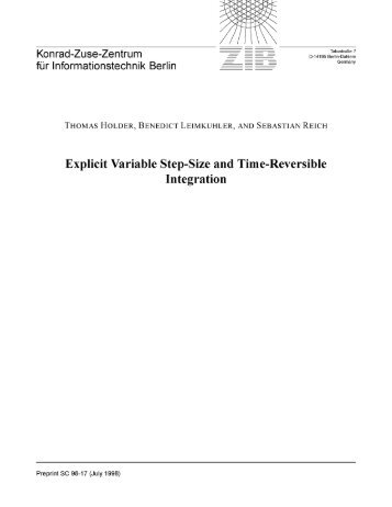 Explicit Variable Step-Size and Time-Reversible Integration - ZIB