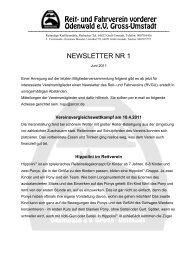 newsletter nr 1 - Reit- und Fahrverein vorderer Odenwald ev Groß ...