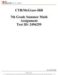 CTB/McGraw-Hill 7th Grade Summer Math Assignment ... - Is34.org