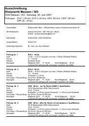 Ausschreibung Distanzritt Messen / SO - bei swissendurance.ch!