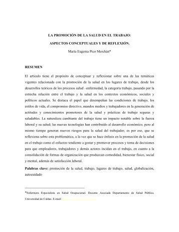 el cuidado y la seguridad en el ambito laboral - Hacia la Promoción ...
